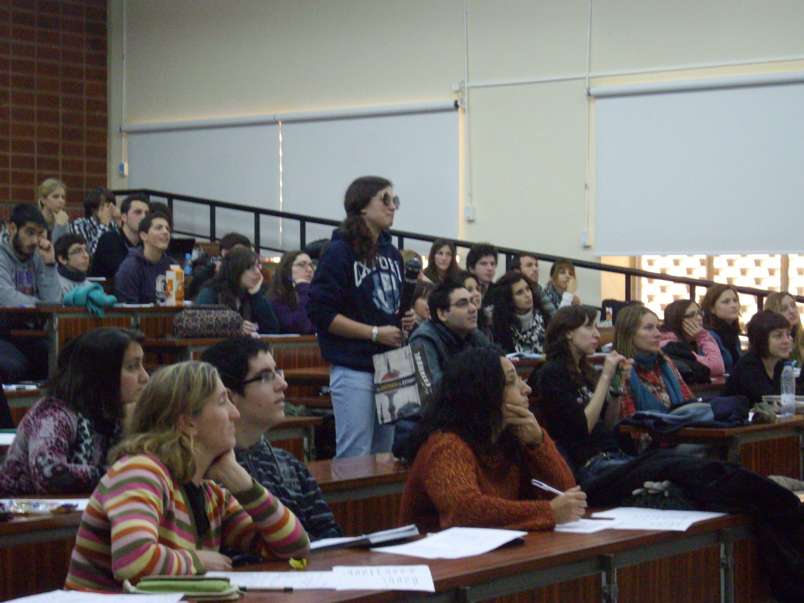 Students listening to a talk