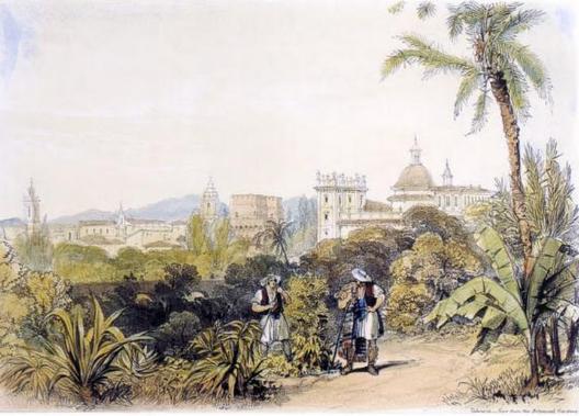 Il·lustració 5. Vista parcial de l'antic jardí botànic situat a l'Albereda de València segons un quadre de 1831.