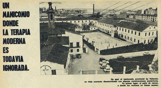 Il·lustració 8. Vista del manicomi provincial de València segons el reportatge de la revista Sábado Gráfico (1972).