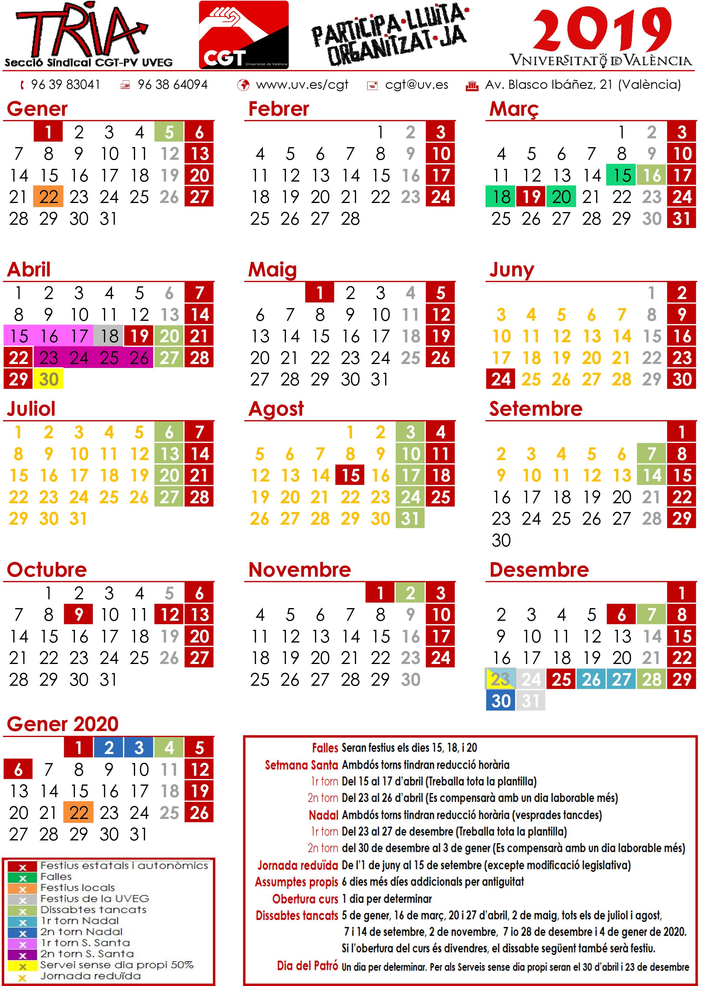 Calendari Laboral 2019