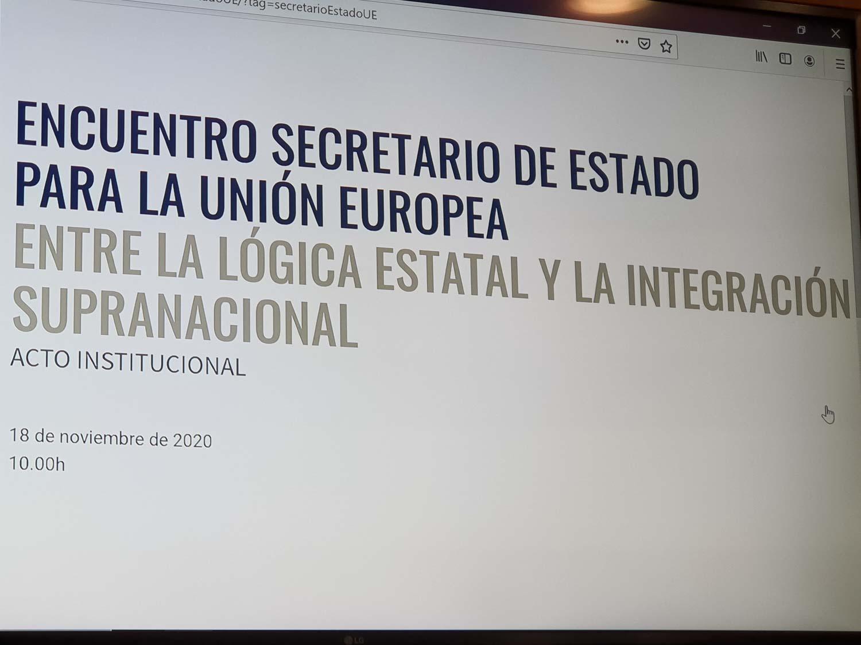 El Secretari d'Estat per a la Unió Europea dialoga amb la comunitat universitària
