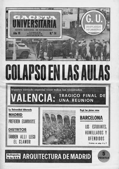 Colapso en las aulas, Gaceta Universitaria, núm. 74. 15 febrer 1967.