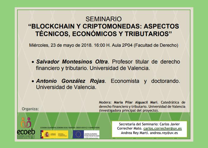 """Seminario """"Blockchain y criptomonedas: aspectos técnicos, económicos y tributarios"""""""