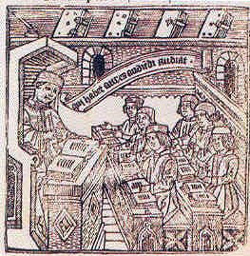 Engraving with students. 15th Century
