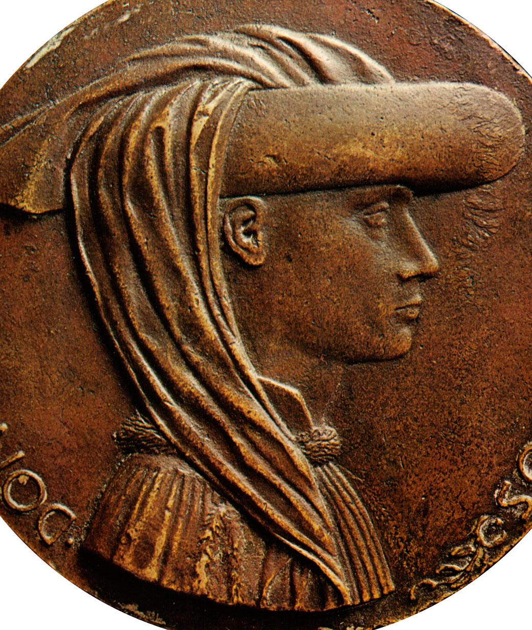 Enyego d'Àvalos, gran camarlenc d'Alfonso el Magnànim i autor del Curial i Güelfa, retratat en una medalla del Pisanello (Nàpols, 1449).