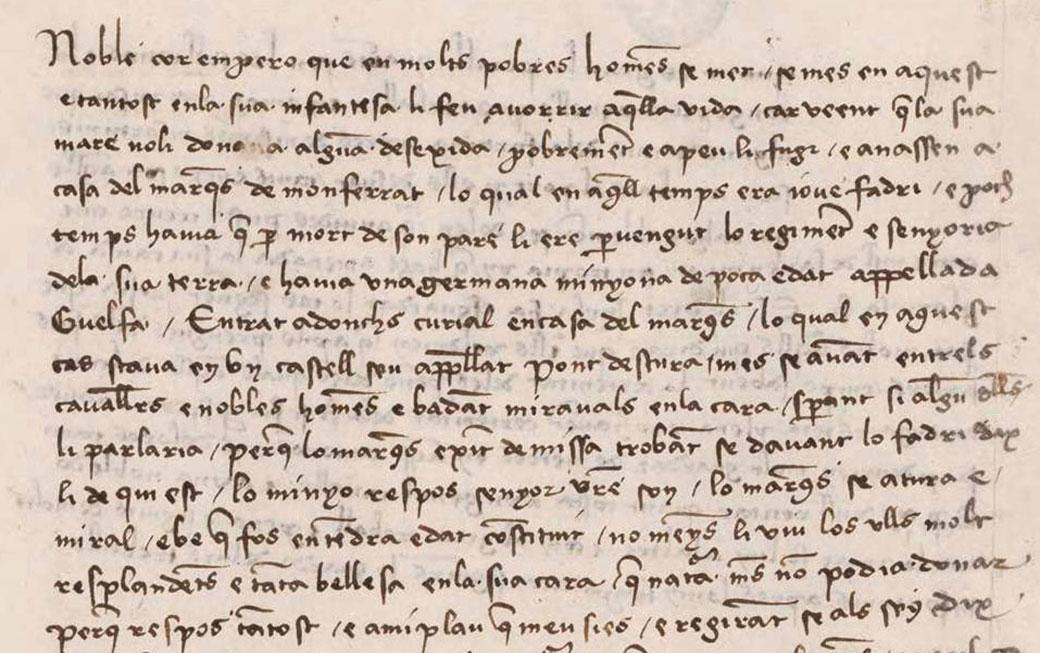 Detall amb text del Curial e Güelfa. Madrid, Biblioteca Nacional, ms. 9750.
