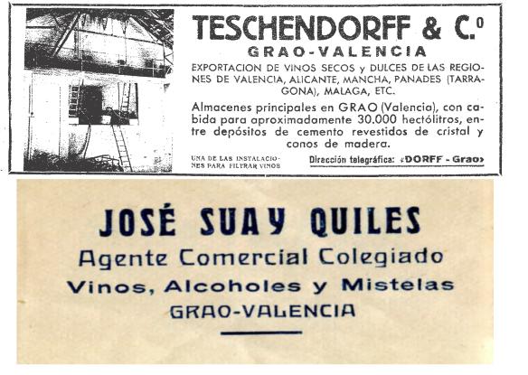 Figura 2. Anuncis d'exportadors i intermediaris vinícoles del Grau de València en la dècada de 1930. (Blanco y Negro, 26/01/1936, pàg. 146 i fotografia de l'autor)
