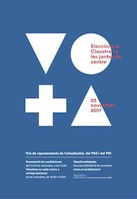 Cartell de la campanya electoral per a l'elecció de representants d'estudiants a Claustre i juntes de centre.