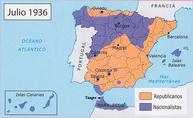 Mapa Bandos Guerra Civil Española.1936