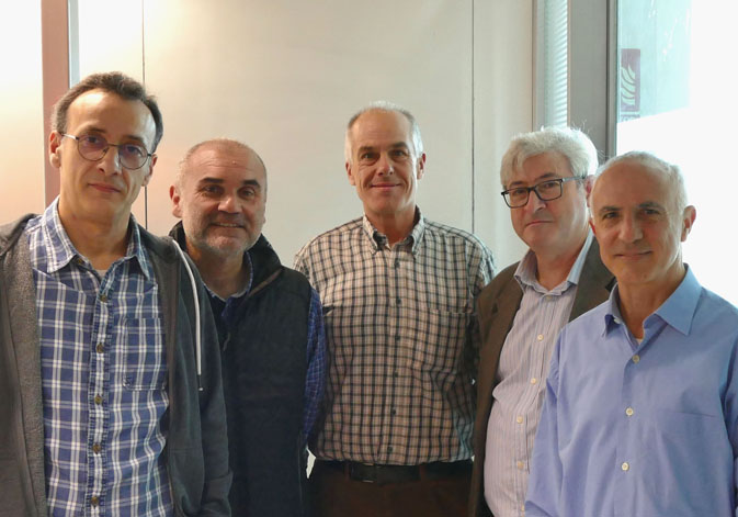 Teachers of the course: (From left to right) Francisco Gálvez (ABDProf S.L.); Alfred Pastor, Juan Manuel Orduña and Enrique Navarro (ETSE-UV); and Armando Pérez (Faculty of Physics).