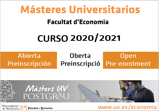 Open pre-enrolment in Official Master's Degrees of the Faculty of Economics