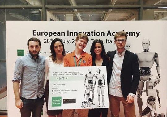 Three students win an international entrepreneurship award in Turin