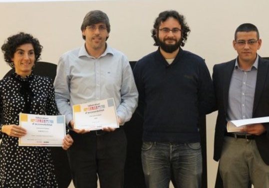From left to right: Zoe Vadero (from Vadeo 2.0), Roberto Esparcia (Cuatrochenta), Roberto Jaramillo (Innovation Councillor), José Vicente Riera (IRIC Universitat).