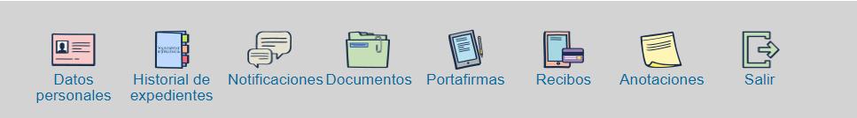Botones de acciones en mis trámites: datos persoocumentos,torial de expedientes, notificaciones, documentos, portafirmas, recibos, anotaciones y salir (de izquierda a derecha)