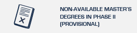 Non-available master's degrees in phase II (Provisional)
